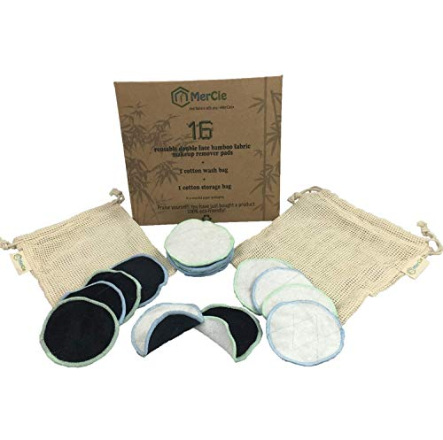 Dubbelzijdig wasbare reinigingspads | 16 herbruikbare bamboeschijven + 2 katoenen zakjes (wassen en opbergen) | Ultrazachte, reinigende katoen | Gerecyclede kartonnen verpakking. 0 kunststof