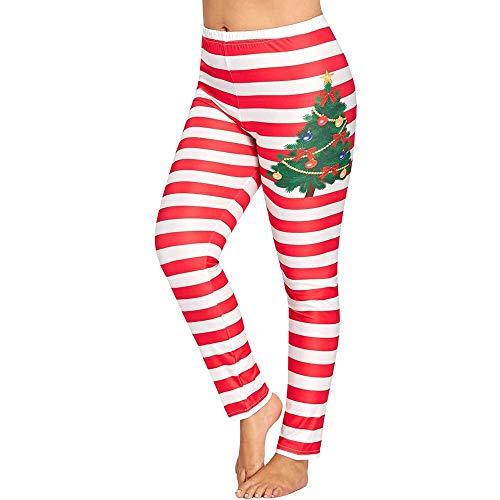 AHUIOPL Vrouwen Yoga Broek Polyester Elastische Taille Vrouwen Plus Size Kerst Stripe Print Lounge Leggings Sport Yoga Atletische Broek