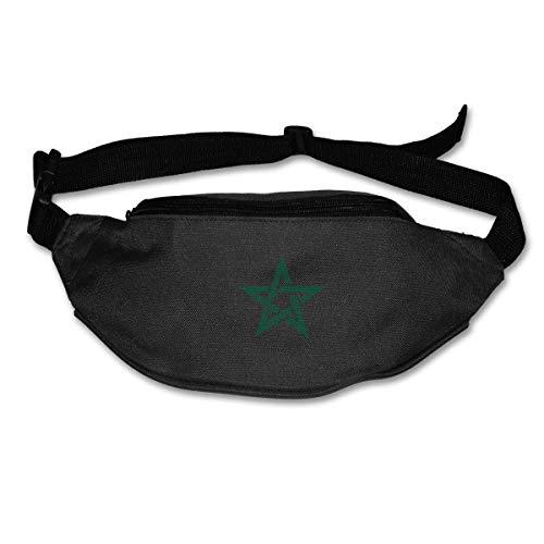 Riñonera Deportivo Bolso Cintura Cinturón Ajustable Running Belt Bolsa de Correr Logotipo de la Bandera de Marruecos