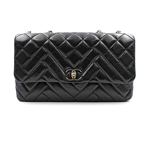 CHANEL Black Chevron Quilted Lambskin Leather Medium Flap Bag AS1120B01443