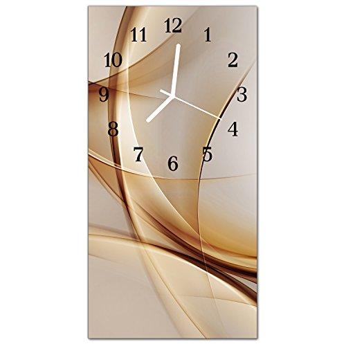DekoGlas Glasuhr 'Abstrakt Beige' Uhr aus Echtglas, eckig große Motiv Wanduhr 30x60 cm, lautlos für Wohnzimmer & Küche
