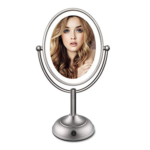 Price comparison product image Lighted Makeup Mirror - 8 LED Vanity Mirror with Natural LED Light,  1X / 5X Magnification,  Double Sided Lighted Vanity Makeup Mirror,  360 Degree Rotation,  Battery Operated / AC Adapter