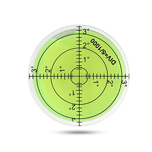 FOONEE - Nivel de Burbuja Circular de 60 mm - Herramientas de medición de Nivel de Burbujas - Nivel de Superficie Horizontal con Anillo de Escala para trípode, fonógrafo, etc. (Verde)