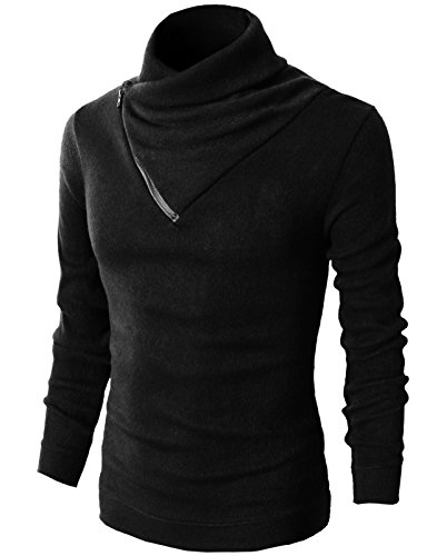 H2H Mens Fashion Turtleneck Slim Fit Pullover Sweater Oblique Line Bottom Edge Black US S/Asia M (KMTTL041)