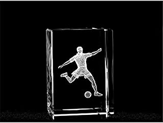 ASFOUR CRYSTAL 1159-70-77 2 L x 2.75 H x 2 W in. Crystal Laser-Engraved Soccer Player Sports Laser-Cut