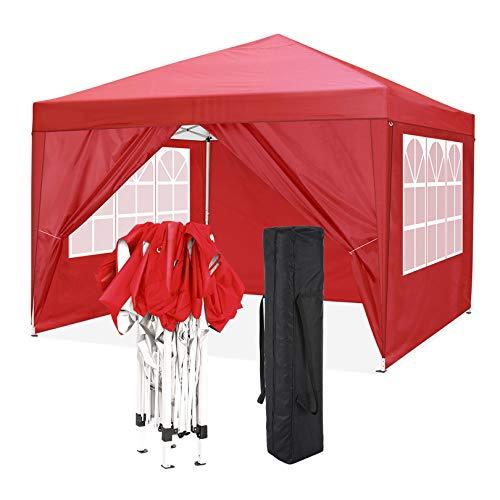 COBIZI Tonnelle de Jardin 3x3m Tente Pavillon de Jardin Pliante pour Exterieur, Acier revêtu de Poudre Robuste, imperméable avec 4 Côtés, Tonnelle Barnum Tente pour Jardins, Camping, Plage (Rouge)