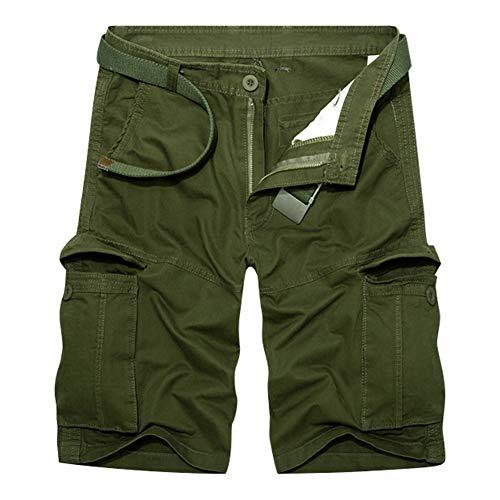 RMane HerrenCargo Shorts Baumwolle Lose Fit Kurz Hose SommerViele Tasche (Ohne Gürtel) (Armee grün, W33)