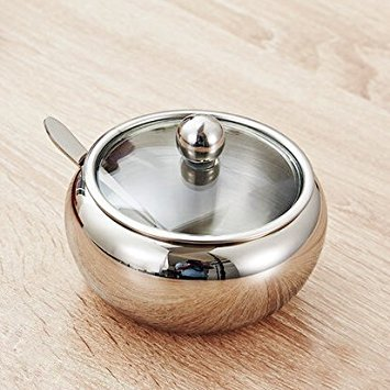 Artmice-Sugar Bowl,Artmice Stainless Steel Sugar Bowl with Clear Lid(for better recognition) and Sugar Spoon for Home and Kitchen, Drum Shape, 17.5 Ounces(520 Milliliter)