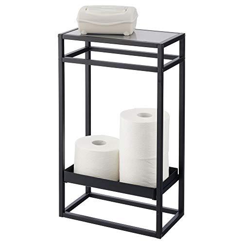 mDesign Modern Narrow Toilet Paper Roll 2-Tier Holder Stand - for Bathroom Storage Organization - Holds 4 Mega and Regular Rolls - Matte Black/Gray