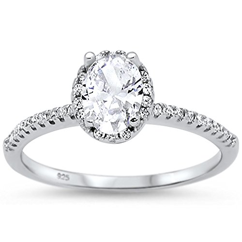 Oxford Diamond Co Sterling Silver Oval Cut Cubic Zirconia Engagement Ring Sizes 9