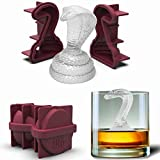 3D Snake Silicone Ice Molds | 2-pack | Snakeskin Print Box | Makes 2 Large Coiled Cobras | For Whiskey, Cocktail, Juice, Gelatin, Chocolate, Soap, Resin, Candle