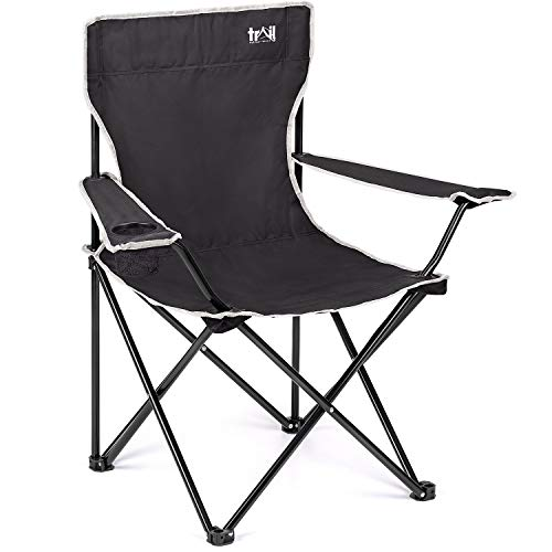 Trail Black Camping Chair Lightweight Folding Cup Holder Carry Bag 100kg Capacity