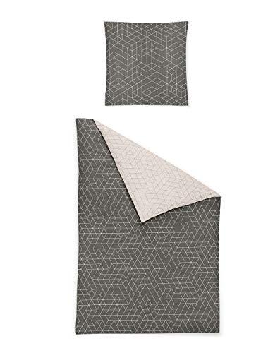 Irisette Edel-Feinbiber Bettwäsche Feel Geometric anthrazit 1 Bettbezug 135 x 200 cm + 1 Kissenbezug 80 x 80 cm