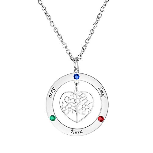 HOUSWEETY Personalized Family Tree of Life Mothers Necklace with 3 Birthstones Children Names Engraved Womens Jewelry for Mom Grandma