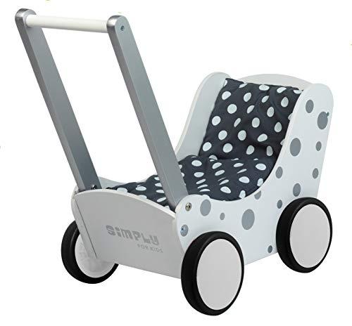 Unbekannt Toller weißer Puppenwagen mit silbernen Punkten inkl. Decke (grau m.weißen Punkten) / Material: Holz / 60 x 32 x 55 cm / ab 3 Jahren