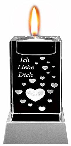Kaltner Präsente Sfeerlicht LED kaars/kristal glazen blok / 3D-lasergravure theelichthouder hart ik liefde jezelf