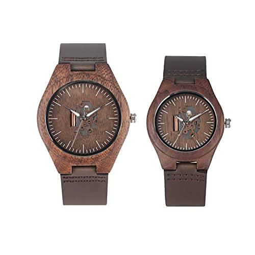 Reloj de Madera para Amantes de café marrón, Reloj de Pareja Hueco de Artes Creativas, Relojes de Cuero Informales para Hombre, Relojes de Pulsera para Mujer, Regalo para Hombre