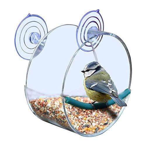 Yuciya Vogelfütterer, Premium Klares Fenster Wildvogel Häuschen Acryl Vogelkäfig Extra Großer Vogelhäuschen Einzigartiges Rundes Vogelhaus mit Starken Saugnäpfen (Rund)