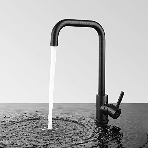 CECIPA Dex X204B | Schwarz Küche Mischbatterie Wasserhahn | 360° Drehbar Küchenarmatur mit Hohem Auslauf für jede Spüle Geeignet | Hochdruck Mischbatterie