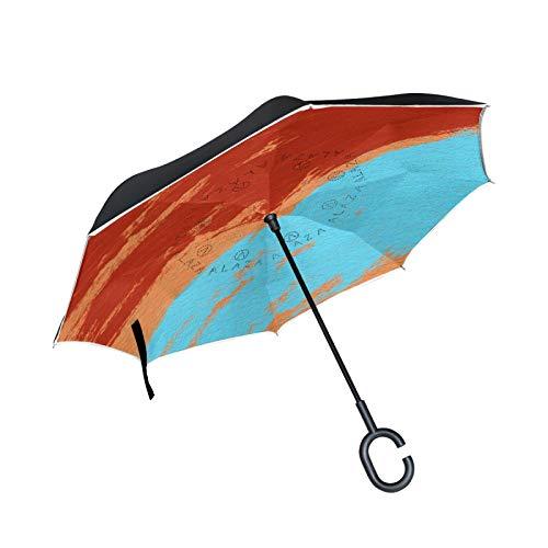 Paraguas invertido de doble capa de color reflexión solar, mango en forma de C, paraguas plegable inverso, resistente al viento, paraguas grande de pie para uso al aire libre