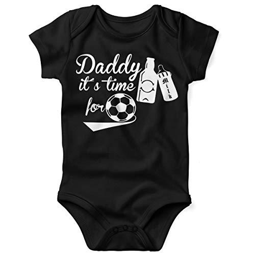 Mikalino Daddy it´s time for Soccer - Cheers Babybody Kurzarm gelb-Print, Grösse:62;Farbe:schwarz