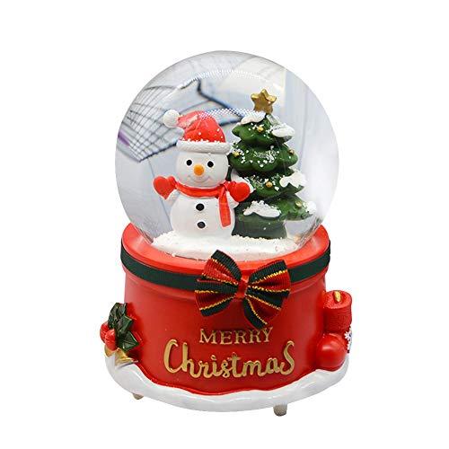 Luoji Weihnachten Schneekugel Spieluhr Mit Musik Schneemann Drehbar Schneekugel Weihnachten Dekoratives Desktop Ornament
