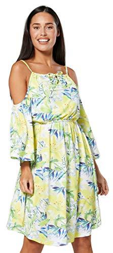 HAPPY MAMA. Damen Umstands Kleid Quadratischer Ausschnitt Kalte Schultern.604p (Limette mit Blumen, 40, L)