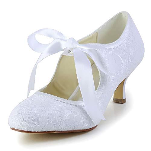 JIA JIA 14031 Hochzeitsschuhe Brautschuhe Spitze Damen Pumps Farbe Weiß,Größe 42 EU