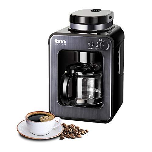 TM Electron TMPCF020G Mini cafetera de Goteo con Molinillo Grano, 4 Tazas, 600W y Filtro Lavable Compatible con café molido,...