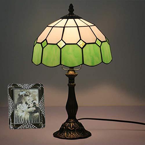 BDHBB Lampes de Table de Style Tiffany, 10 Pouces de décoration Simple, Lampes de Table en Verre teinté, Lampe de Table Moderne pour Salon Petite Lampe de Table Veilleuse 40W,Green,Alloy