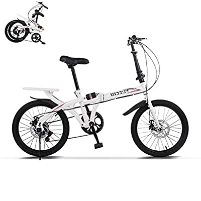 TOUNTLETS Leisure 20in Folding Bicycle 7 Speed City Suspension Compact Bike with 38 lbsHigh Tensile Steel Urban Commuters Mini Mountain Bike for Adult Men and Women Teens (White)