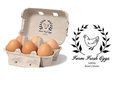 "Farm Fresh Eggs - Personalised Egg Box - self Inking Stamp - 1 1/2"" x 1 7/8"""