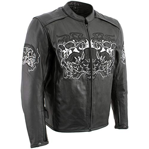 Xelement B95010 Men's 'Bones' Black Armored Cruiser Motorcycle Jacket with Reflective Skulls - Small