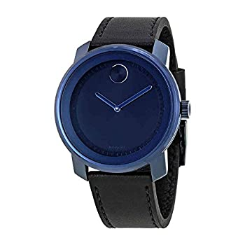 Movado Bold Blue Dial Leather Mens Watch 3600408