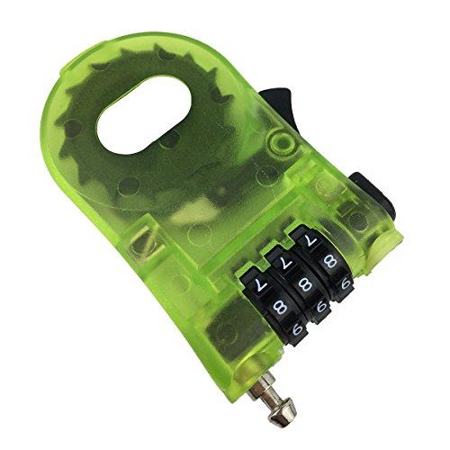 ZNSJ Kabelschloss, einziehbares Reiseschloss, Snowboardschloss, Kombinationsschloss, 88,9 cm, Grün