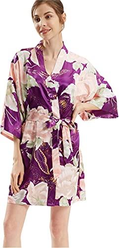 INSTO Mujer Satinada Flor Kimono Bata Peonía Impresa Ropa de Dormir Novia Dama de Honor Albornoz Hogarwear,Púrpura,un Tamaño