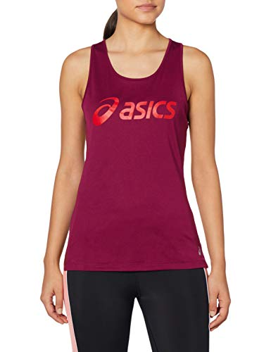 Asics Silver Tank Camiseta sin Mangas, Mujer, Dried Berry/Classic Red, L