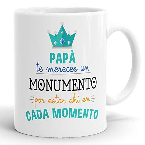 REGALOS ESTRELLA AZUL Taza día del Padre Regalo para Papa, Papa te Quiero, al Mejor papá del Mundo, Regalos Padres, Regalos día del Padre, Taza con Frases (Papá te mereces un Monumento)