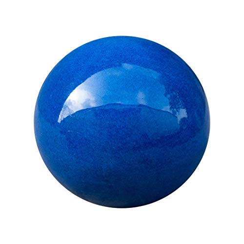Teramico Dekokugel Gartenkugel glasiert -Blau, Grün, Anthrazit, Türkis, Aqua- sehr hochwertig frostfest und witterungsbeständig Steinzeug (12cm, Blau)