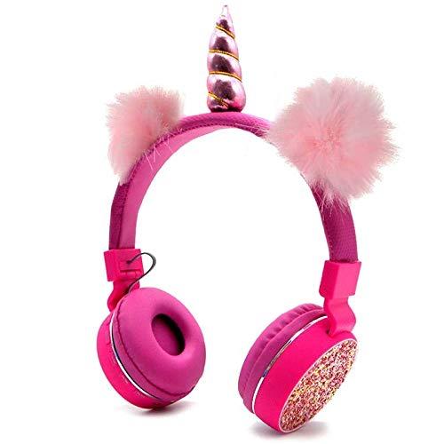 LKJG Unicornios Auriculares inalámbricos Bluetooth estéreo Plegable del Auricular de los niños Manos Libres de Música Estirable de la Historieta por Regalos de los Muchachos de Chicas (Color : Pink)