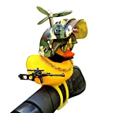 Nobranded Duck Bike Bell, Rubber Yellow Duck Bicycle Car Ornaments with LED Light&Toy Gun, Cute Propeller Handlebar Bicycle Horns for Kids AdultsToddler (Style-2)