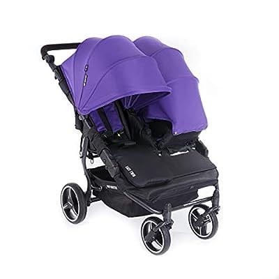Baby Monsters Carrito gemelar + Capota Easy Twin 3S Light (Morado) - Silla de paseo gemelar ultraligera de fácil plegado