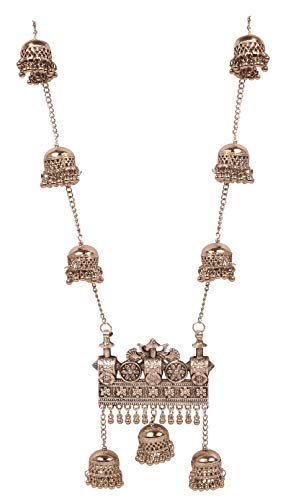 Touchstone 'Indian Oxidized Jewelry Fine Filigree Peacock Inspired Majestic Look Designer Jewelry Necklace in Oxidized Silver Tone for Women.
