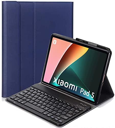 YHFZR Funda Teclado Español Ñ para Xiaomi Mi Pad 5/5 Pro, Español Ultra Slim Teclado Keyboard Case con Magnético Desmontable Inalámbrico Bluetooth para Xiaomi Mi Pad 5/5 Pro 11 Pulgada, Azul
