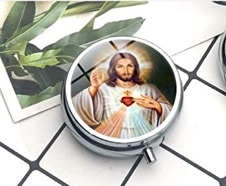 Blessed Virgin Mary Mother of Baby Necklace Jesus Christ Christian Pendant Catholic Religious Glass Tile The pill box is built solidly