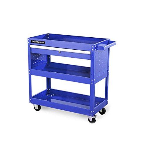 Kitchenhotel trolley-Jack Mall Kaltgewalzte Stahllaufkatze, Selbstreparatur-Werkzeugwagen, dreistöckige Reparatur-Werkzeuge, Multifunktions mit Fach zerteilt Auto, 300 Kilogramm-Last (Farbe : Blau)