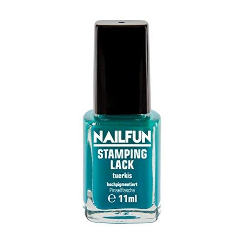 NAILFUN Stampinglack TÜRKIS 11ml Pinselflasche - Stamping Nagellack - 1 x 11ml
