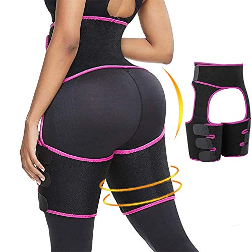 PHIONXEI Sweat Band Waist Trainer for Women Weight Loss Everyday Wear,3 in 1 Waist Thigh Trimmer and Butt Lifter for Women,Neoprene Slimming Body Shaper Waist Trimmer for Women Lose Belly Fat Pink