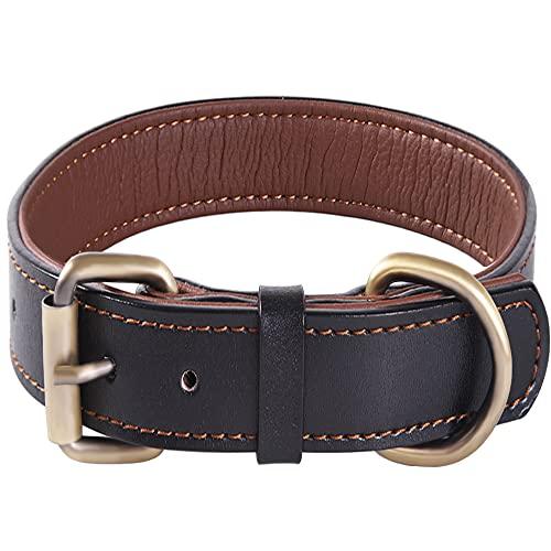 Dickes Weiches Hundehalsband aus Echtem Leder, Verstellbares Heavy Duty für Kleine Mittelgroße und Extra Große Hunderassen (Schwarz) (M)