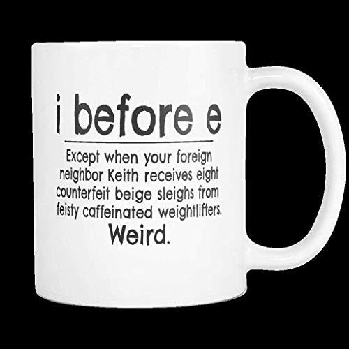 N\A I Antes de E Excepto después de C. Taza de café de cerámica Blanca con Regla gramatical Divertida Taza Tazas de 11 oz